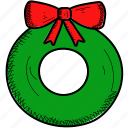 celebration, christmas, decoration, wreath icon