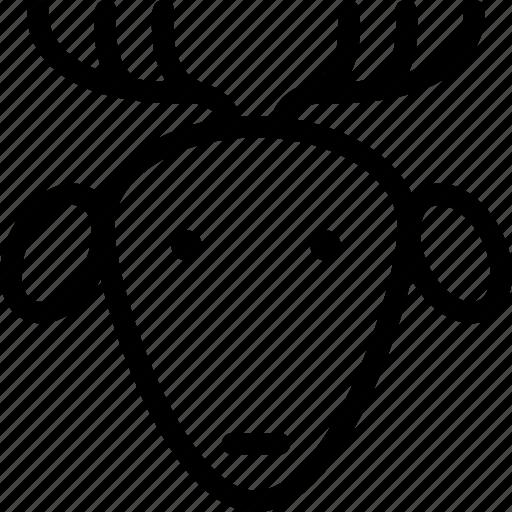 animal, face, head, reindeer icon