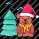 bear, christmas, tree, clouds, christmas tree