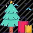 tree, christmas tree, bags, shopping bags icon