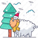 christmas tree, christmas, sheep, nature icon