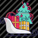 sleigh, gift boxes, christmas tree