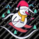 snow man, nature xmax, skiing, skis, poles, ski, winter icon