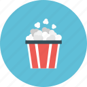 cinema, corn, entertainment, film, movie, popcorn, snack icon