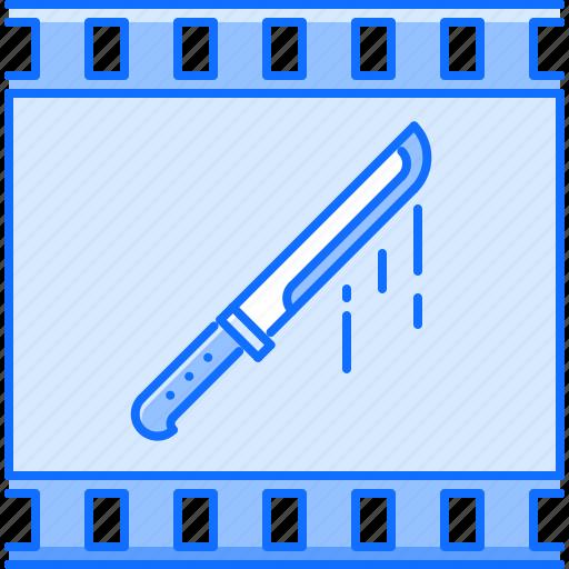 cinema, film, filming, knife, movie, thriller icon