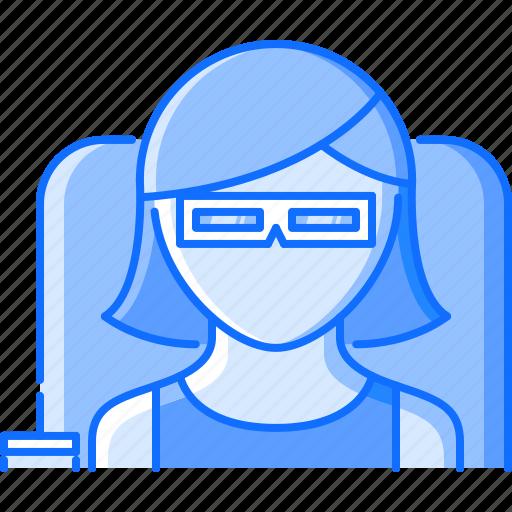 cinema, film, filming, glasses, movie, viewer icon