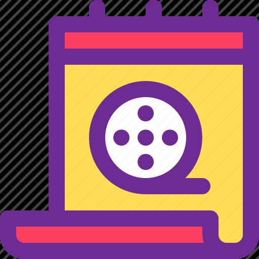 calendar, date, movie, schedule, time icon