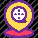 address, cinema, location, map, pin icon