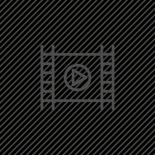 cinema, film, line, movie, multimedia, video icon