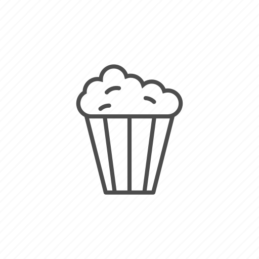 cinema, drink, film, line, movie, popcorn, theater icon