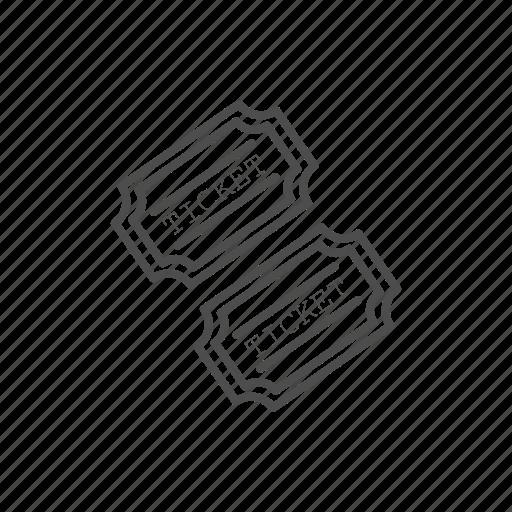 cinema, film, line, movie, ticket, video icon