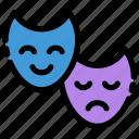 cinema, comedy, entertainment, face, genre, mask, theater