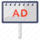 ad, ad board, banner, board, campaign, hoarding, placard icon