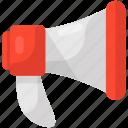 bullhorn, loud hailer, loudspeaker, megaphone, speaking trumpet icon