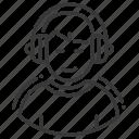 headphones, male, music listening, sound producer icon