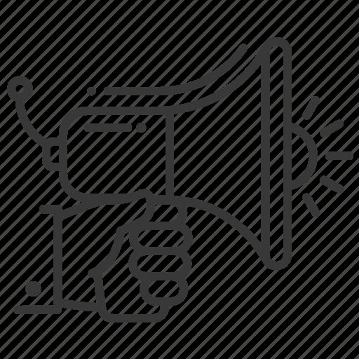 announcement, hand, loud, megaphone icon