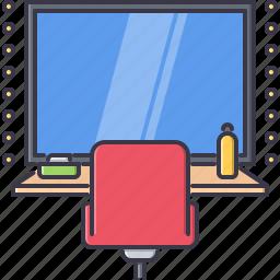 cinema, dressing, film, filming, mirror, movie, room icon