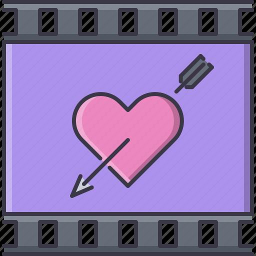 arrow, cinema, film, filming, heart, melodrama, movie icon