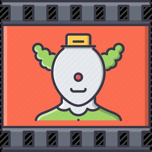 cinema, clown, comedy, film, filming, movie icon