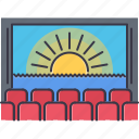 cinema, film, filming, movie, seat icon