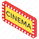 big screen, cinema logo, entertainment, film arena, movie theater sign