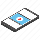 media option, mobile app, mobile video, music video, paused video, play icon
