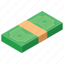 banknotes, cash bundle, heap of money, pile, stacked money icon