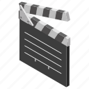 clap stick, clapperboard, photographic equipment, production board, slate board, sync slate icon