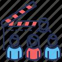 actors, cast, cinema, clapperboard icon
