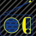 media, music, radio, sound, speaker, technology, thin icon