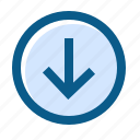 arrow, circle, directions, down, filled, line, navigation icon