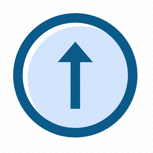 arrow, circle, directions, filled, line, long, up icon
