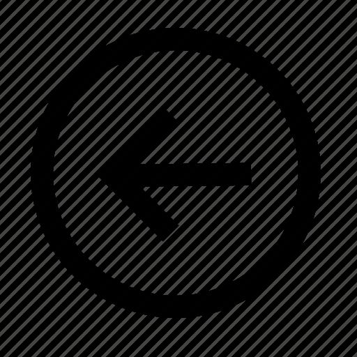 arrow, circle, direction, left, line, navigation icon