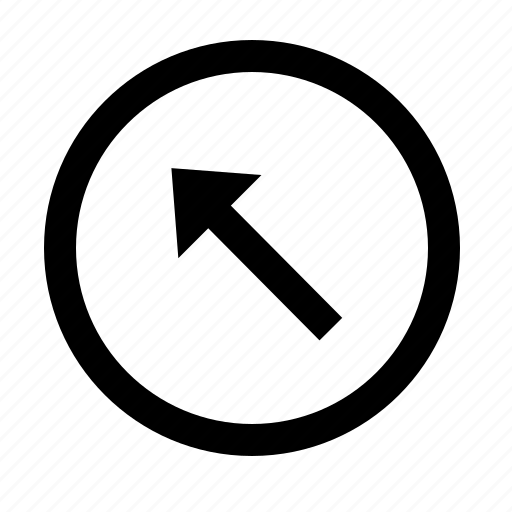 arrow, circle, direction, left, line, long, up icon