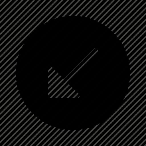 arrow, arrows, diagonal, direction, down, left, move icon
