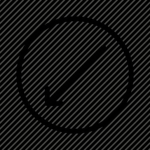 arrow, diagonal, direction, down, left, move, thin icon