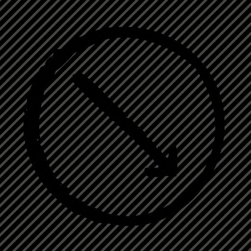 arrow, diagonal, direction, down, move, right, thin icon