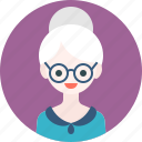 avatar, blouse, girl, glasses, old, profile, woman icon