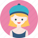 avatar, girl, hat, profile, woman icon