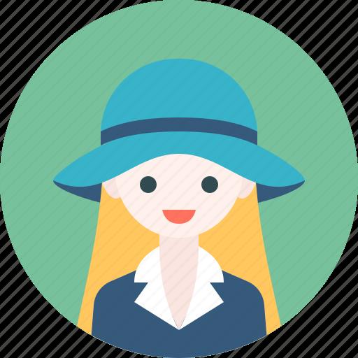 avatar, girl, hat, profile, woman icon