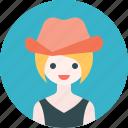 avatar, cowboy, girl, hat, profile, woman icon