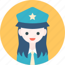 avatar, girl, hat, officer, profile, woman icon