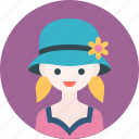 avatar, flower, girl, hat, profile, woman