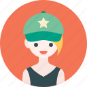 avatar, cap, girl, hat, profile, woman icon