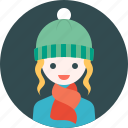 avatar, girl, hat, profile, scarf, winter, woman icon