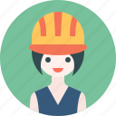 avatar, girl, hat, profile, woman, worker icon