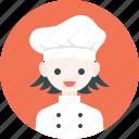 avatar, chef, girl, hat, profile, woman icon