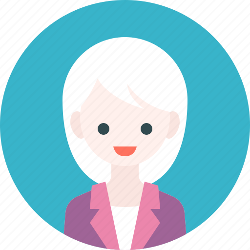 avatar, girl, profile, suit, woman icon