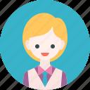 profile, suit, avatar, studen, woman, girl, waiter
