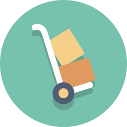 delivery, dolly, hand truck, packages icon
